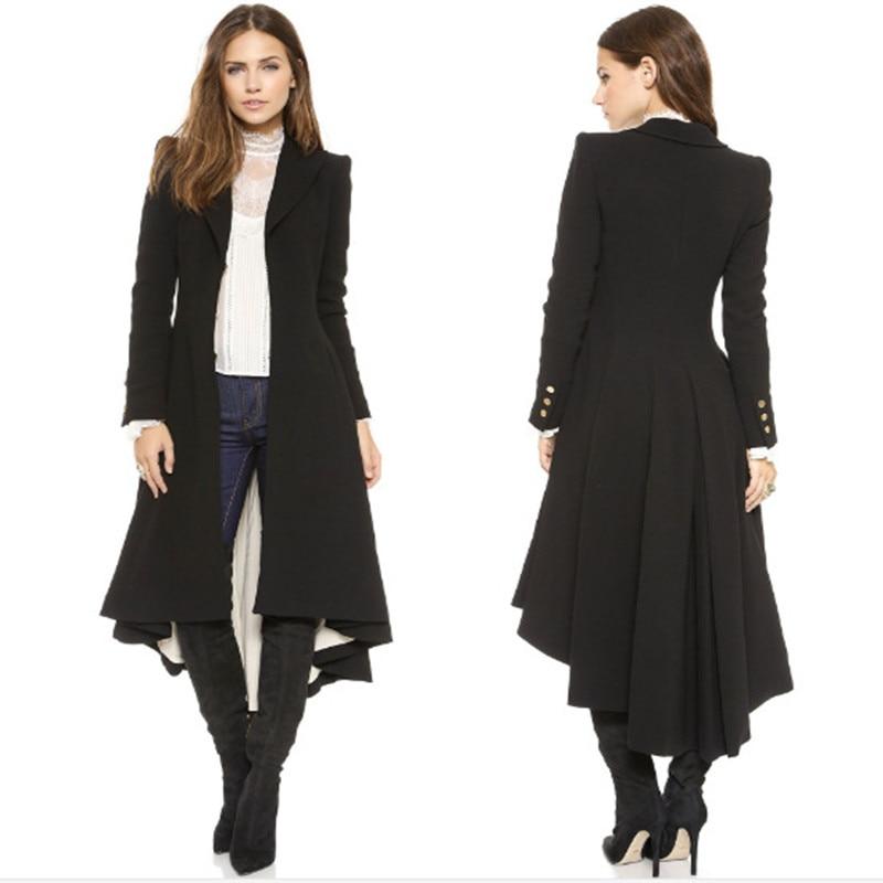 New Autumn Winter Women Coat Plus Size Fashion Solid Back Swallow Tailed Style Slim MD-Long Woolen Blends Coat For Women Outwear