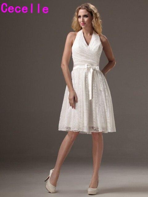 Ivory Halter Short Lace Bridesmaid Dresses V Neck A Line Knee Length Vintage Reception Wedding