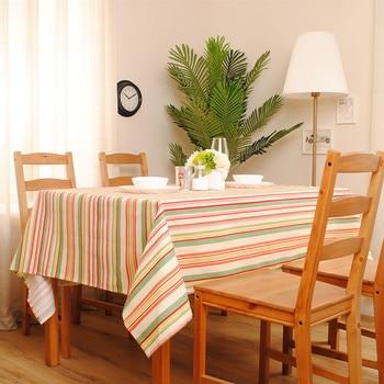 Decoración del hogar serie arcoíris mantel de rayas coloridas cubierta de mesa de té mantel de algodón aceptar personalizado