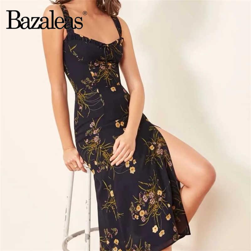 Bazaleas, летнее платье с цветочным принтом, черное, с бантом, регулируемое, на бретельках, vestidos, тонкое, с разрезом, миди, платье, шифоновые платья