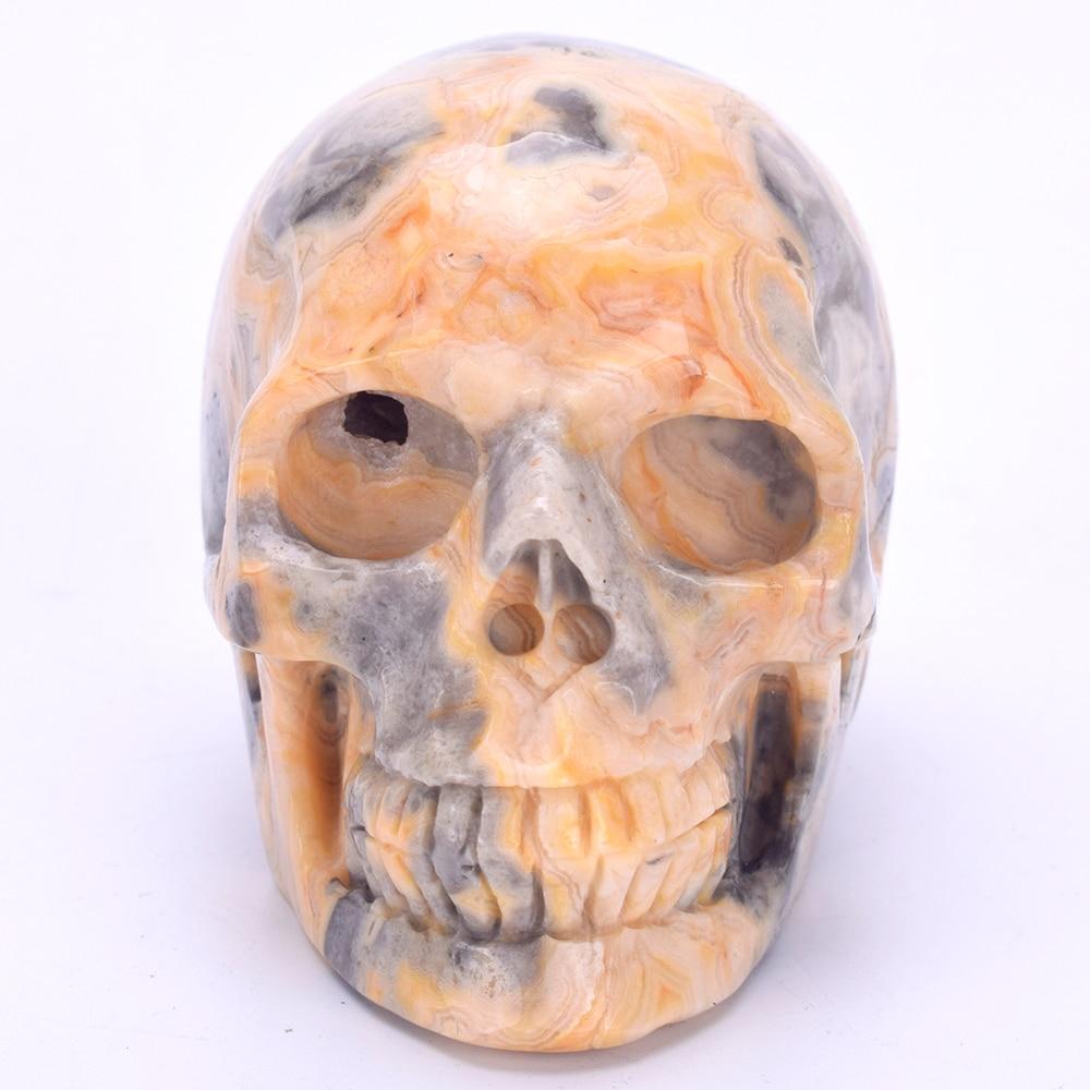 3.3 Quartz Crystal Skull Statue Natural Crazy Lace Agate Carved Crystal Healing Skull Sculpture Home Decor Art Collectible3.3 Quartz Crystal Skull Statue Natural Crazy Lace Agate Carved Crystal Healing Skull Sculpture Home Decor Art Collectible