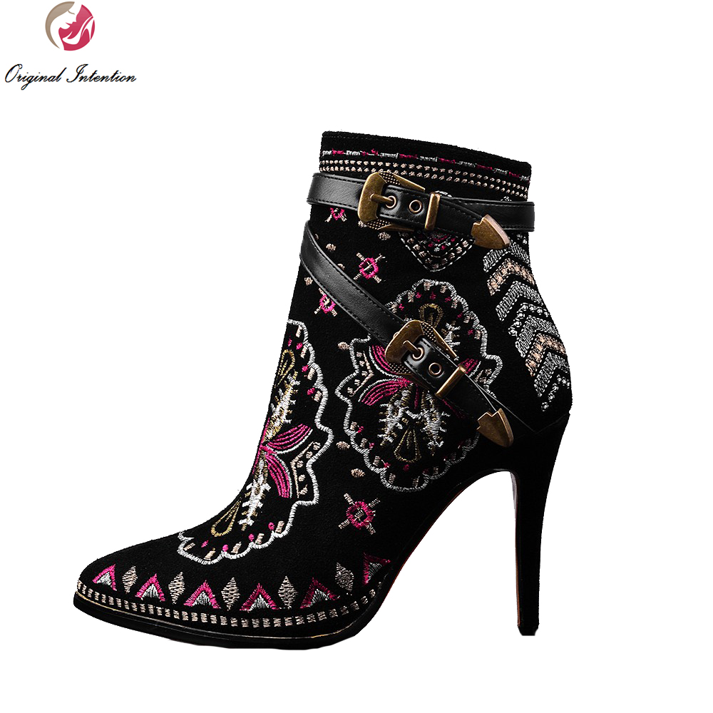Original Intention Super Fashion Women Ankle Boots Popular Embroidery Thin Heels Black Shoes Woman US Size 4-10