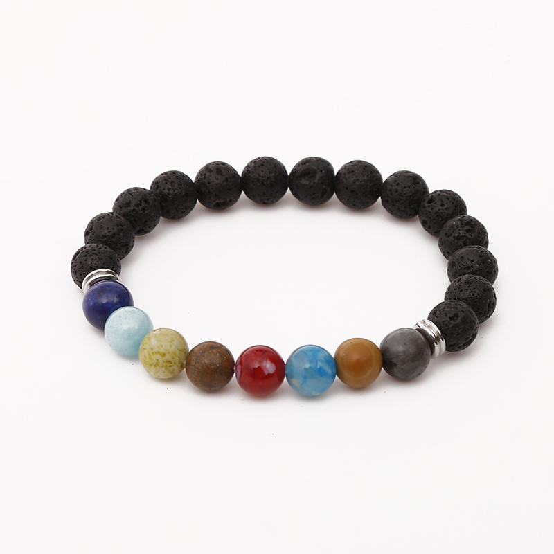 Explosion Models Hot 8mm Natural Stone Charm Bracelet Colorful Rainbow Hand-woven Bracelet Female Accessories