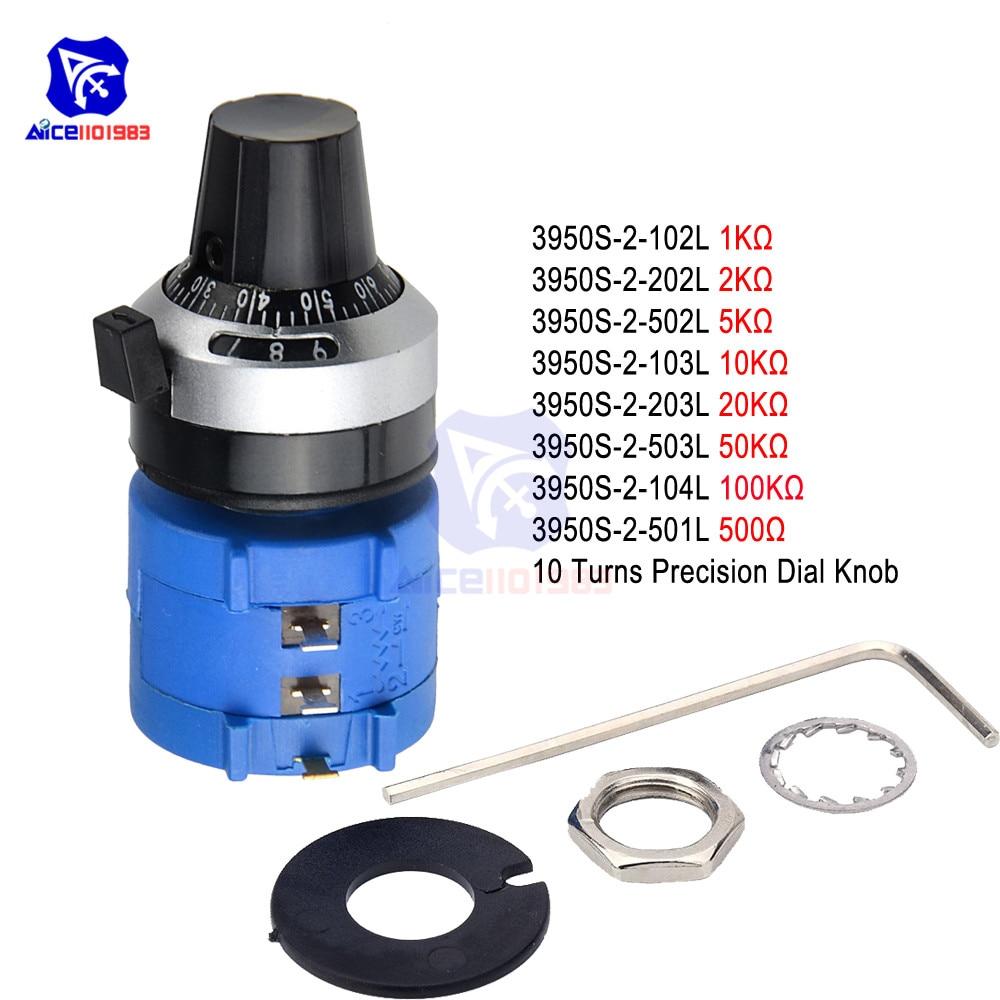 3590S Wirewound Potentiometer 500R 1K 2K 5K 10K 20K 50K 100KΩ Ohm 6mm Shaft 10-Turns Rotary Precision Dial Potentiometer Knob