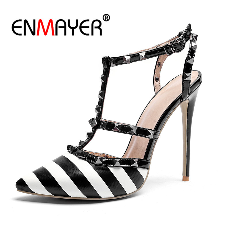 ENMAYER 2018 Pumps Sexy Slingback T-Strap Rock Stud Shoes Sandals Women Thin heels Summer Pointed Toe Ankle Strappy Black CR810 pumps shoes slingback open toe double strap sandals black summer women strappy designer stiletto high heels sexy big size 11