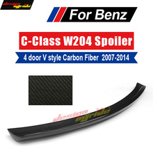 цена на W204 Rear Trunk Boot Spoiler Wing Lip Carbon Fiber for Mercedes Benz W204 C63 C180 C200 C220 C250 C300 V Style 4-Door 2007-2014