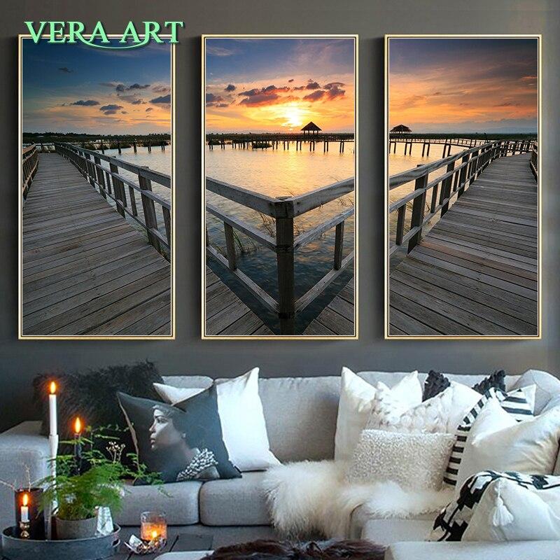 Aliexpress Com Buy 3 Piece Canvas Art Home Decoration: Aliexpress.com : Buy Sunset Picture Canvas Oil Painting 3