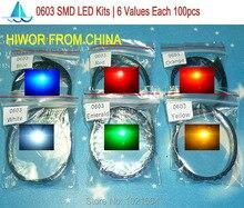 (600 pçs/lote) 0603 SMD LED Kits Vermelho Amarelo Azul Laranja Verde Esmeralda Branco 6 cores cada 100 pcs