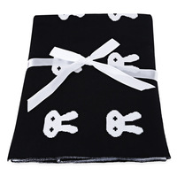 Baby Cotton Blanket Bath Towel Black White Cute Rabbit Knitted Comfortable Swaddle Wrap Baby Bedding Props
