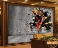 Custom 3d kids boys halloween cartoon wallpaper mural Jurassic Park dinosaur out of wall tv sofa children bedroom living room