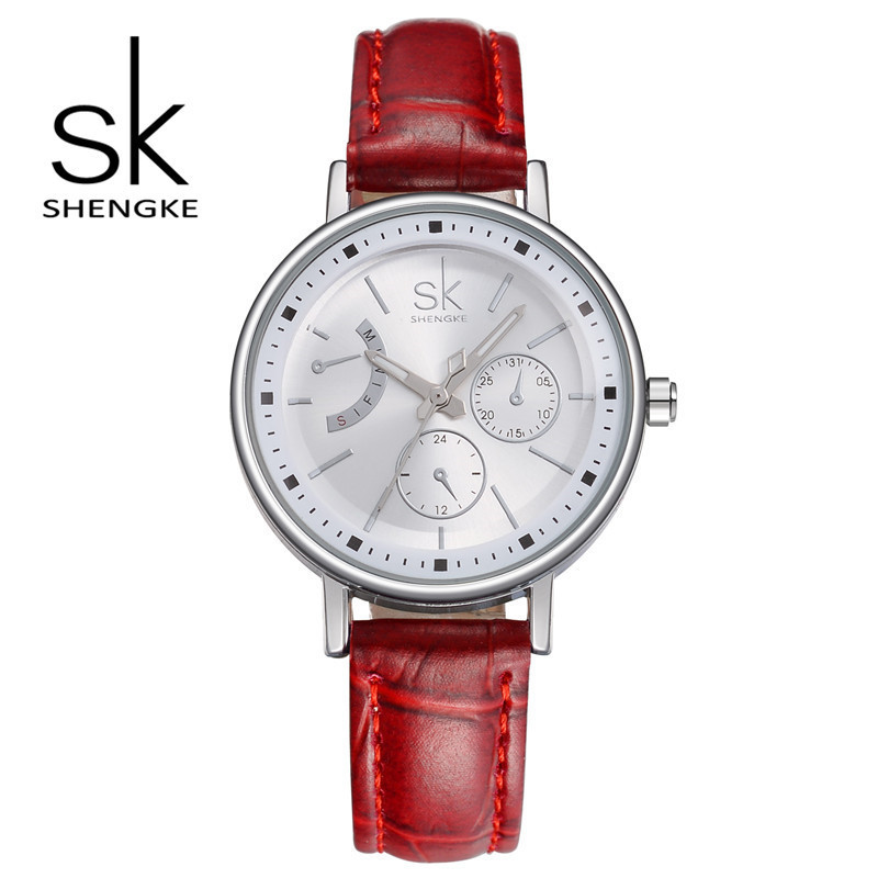 SK Brand Fashion Women Leather Wrist Watches Ladies Casual Analog Silver Case Quartz Watch Relogio Feminino Gift 2017 sanwood brand ladies watches fashion white leather band analog quartz rhombic case wrist watch for women gift reloj mujer