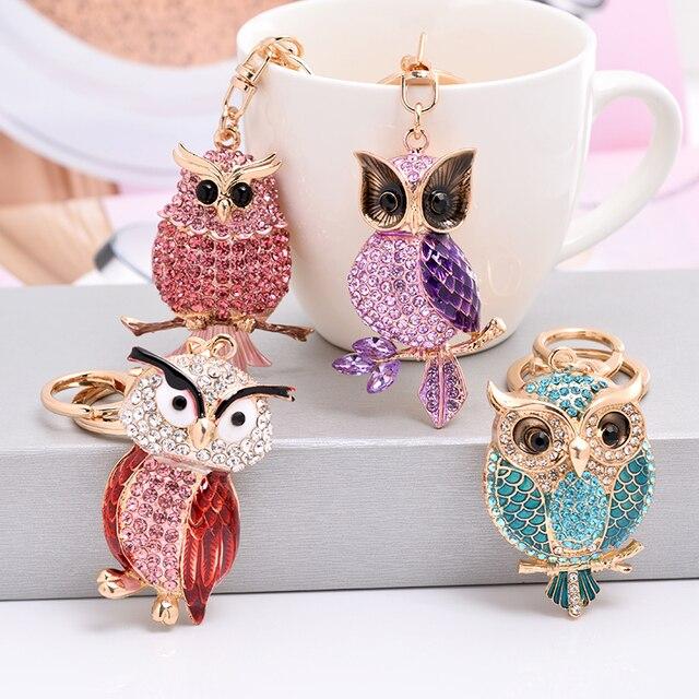 LLavero de búho de cristal de nuevo diseño EASYA llavero de diamantes de imitación completo para las mujeres bolso accesorios Linda llave de coche Animal cadena