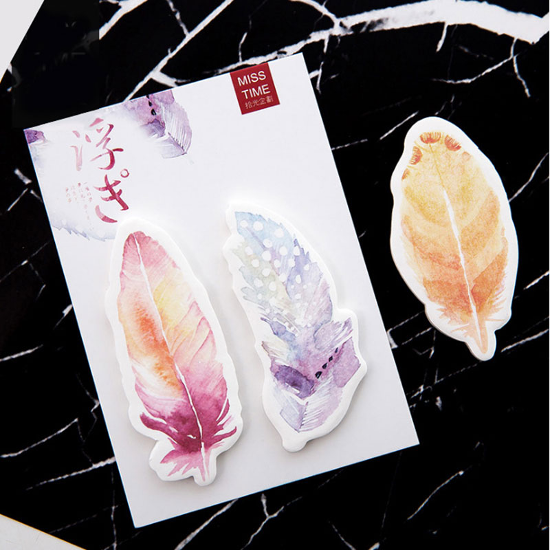 1X Colored feathers Memo Pad Sticky Notes Memo Notebook Stationery Papelaria Escolar School Paper Stickers stationery Supplies in Memo Pads from Office School Supplies