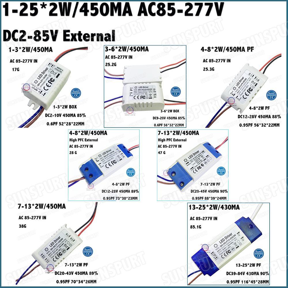 External 1-36W Isolation AC85-277V LED Driver 1-3x2W 3-6x2W 4-8x2W 7-13x2W 13-25x2W 450mA DC2-85V Constant Current Free Shipping