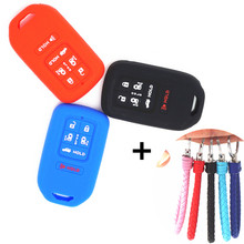 WFMJ Silicone 6 Buttons accessories Remote Smart Key Chain Cover Case Holder for 2014 2015 2016 Honda Odyssey EXL KR5V1X
