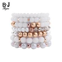 BOJIU Natural Stone Strand Bracelet For Women Cubic Zircon White Crystal Ag. Hematite Quartz Glass Beads Jewelry BC278