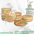 wholesale 12pcs/lot 8x8cm yellow jade massage body stone