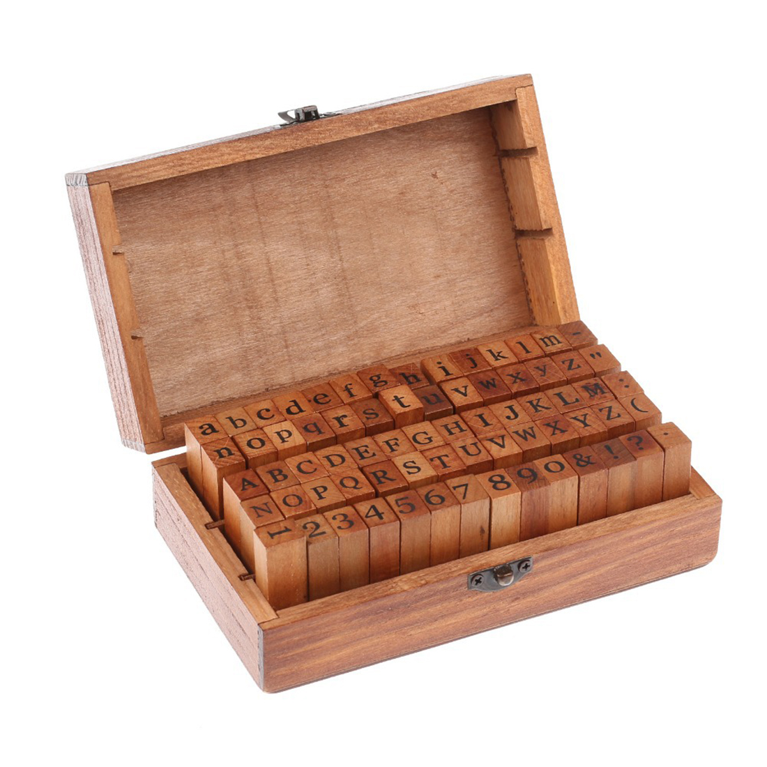 New 70pcs Vintage DIY Number And Alphabet Letter Wood Rubber Stamps Set With Wooden Box For Teaching And Play Games bobo bird brand new sun glasses men square wood oversized zebra wood sunglasses women with wooden box oculos 2017