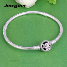 Genuine 925 Sterling Silver Poetic Blooms Mixed Enamels bracelets for women fit charms bracelet and bangles DIY Jewyuer YL055