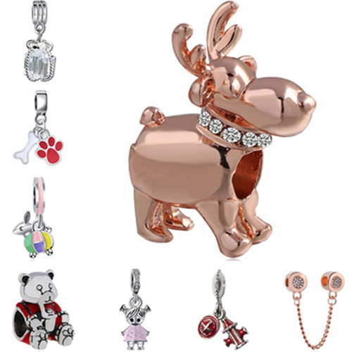 Punk Maxi Small Animal Owl Wings Dog Love Hearts Crystal Charms Beads Fit Pandora Bracelets & Bangles for Women Hot Sale DIY