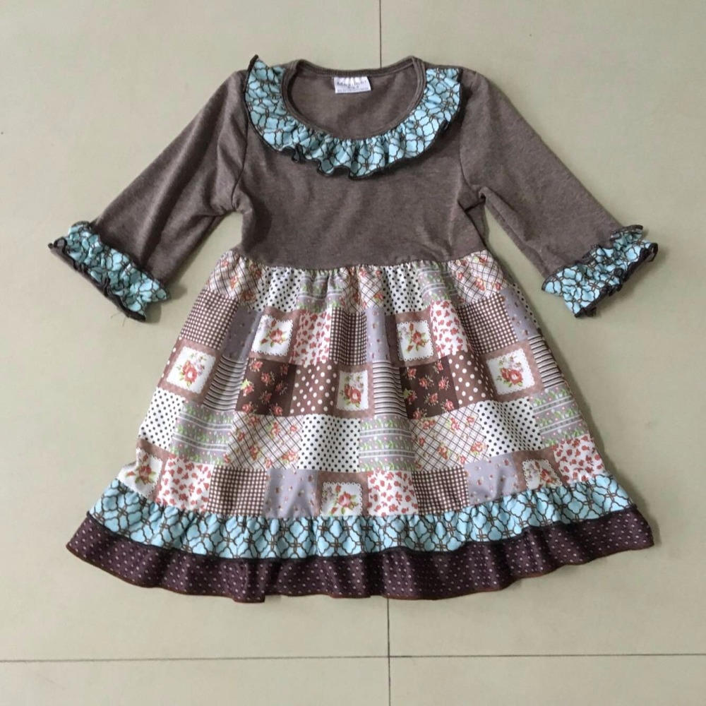 2017New style Summer and Autumn Infants and Children solid brown and chequer Print Baby kids Dress of Girls Apparel Accessory 2017 new children and adolescents autumn
