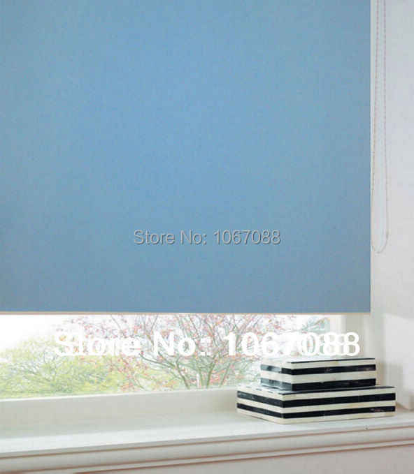 custom Made 100% polyester sky blue blackout  roller blinds window curtain for Living Room