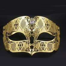 Male metal half face party gold and silver mask diamond show Venice Christmas props