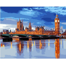 RIHE London Blue river-Framed DIY Oil Paint By Numbers kit for adults,Wall Art picture,Digital Canvas Painting by numbers