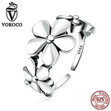 VOROCO Exquisite Real 925 Sterling Silver Flower Poetic Daisy Cherry Blossom Finger Ring for Women Engagement Jewelry VSR063