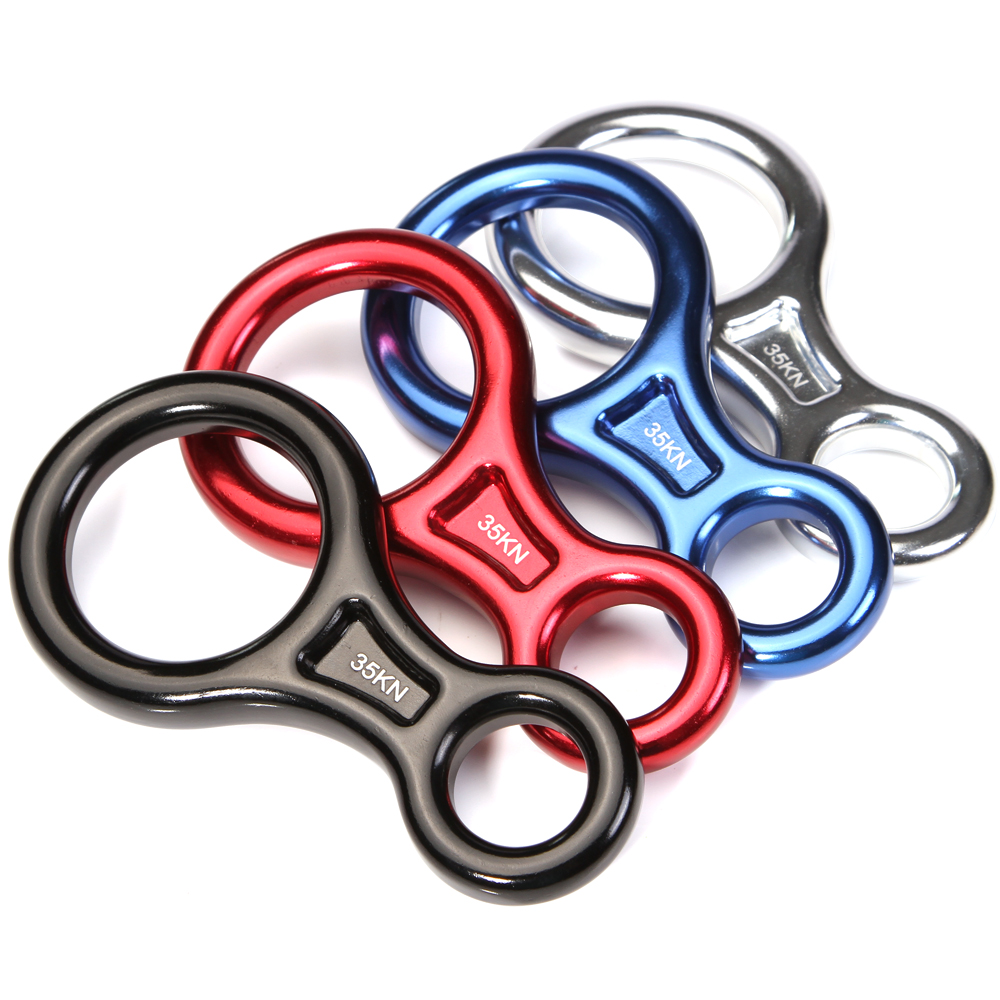 35kn7500Lbs  Figure 8 Descender Aluminum Descender For Climbing / Rescue / Rock Climbing / Rigging/ Random color freeshiping