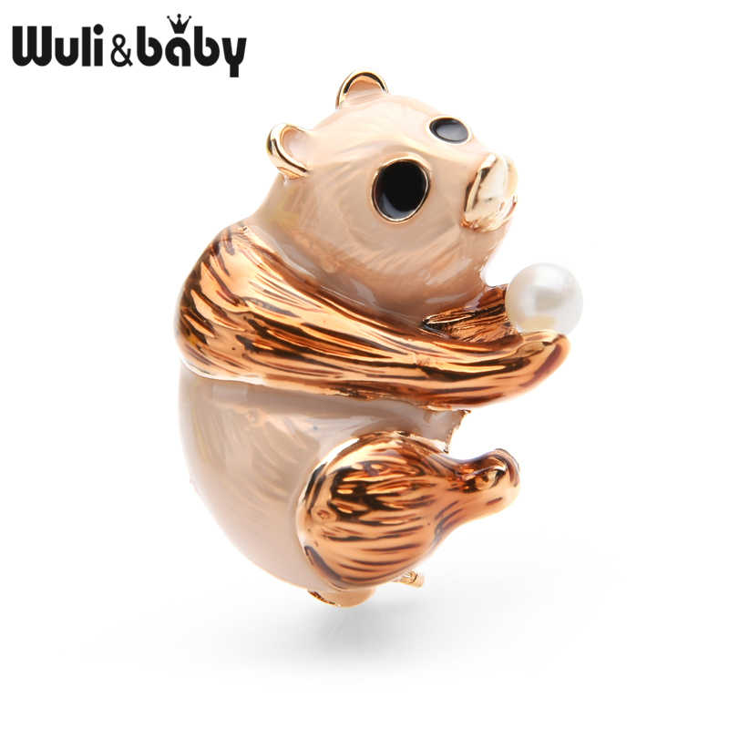 Wuli ve bebek kahverengi emaye ayı kadınlar için alaşım Panda hayvan broş Pins hediyeler