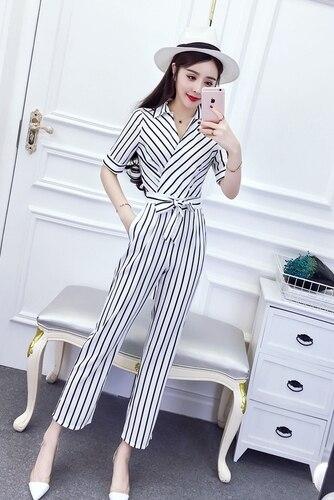 Korean Fashion Chic V Neck Rompers Elegant Bow Pocket Striped Casual Brief Pocket Belt Rompers Womens Jumpsuit 6