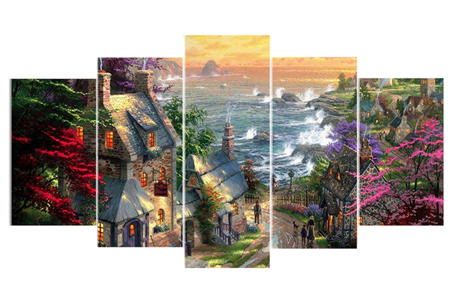 5pcs/set,DIY Diamond Mosaic Embroidery Landscape Diamond Painting Full square Rhinestone cross stitch seaside town Home Decor