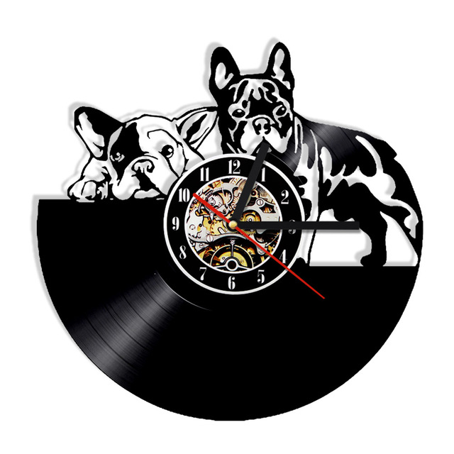 538bfd5dd9a 1 peça Buldogue Francês Dog Disco de Vinil Relógio de Parede Design Moderno  Relógio de Parede