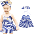 Baby girl striped dress 2017 princess toddler girls tirantes vestidos de verano del cabrito del bebé ropa para niños con arco cinta fa006