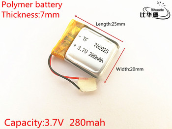 3.7V,280mAH,702025 Polymer lithium ion / Li-ion battery for TOY,POWER BANK,GPS,mp3,mp4,cell phone,speaker image