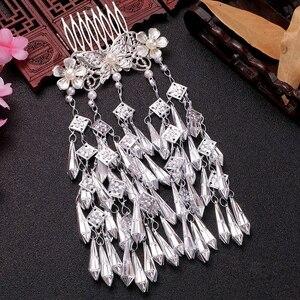 Image 2 - Kostüm Hanfu Headdress Retro saç aksesuarları uzun çok katmanlı küçük taze saçak takı taklit Miao gümüş ekle tarak