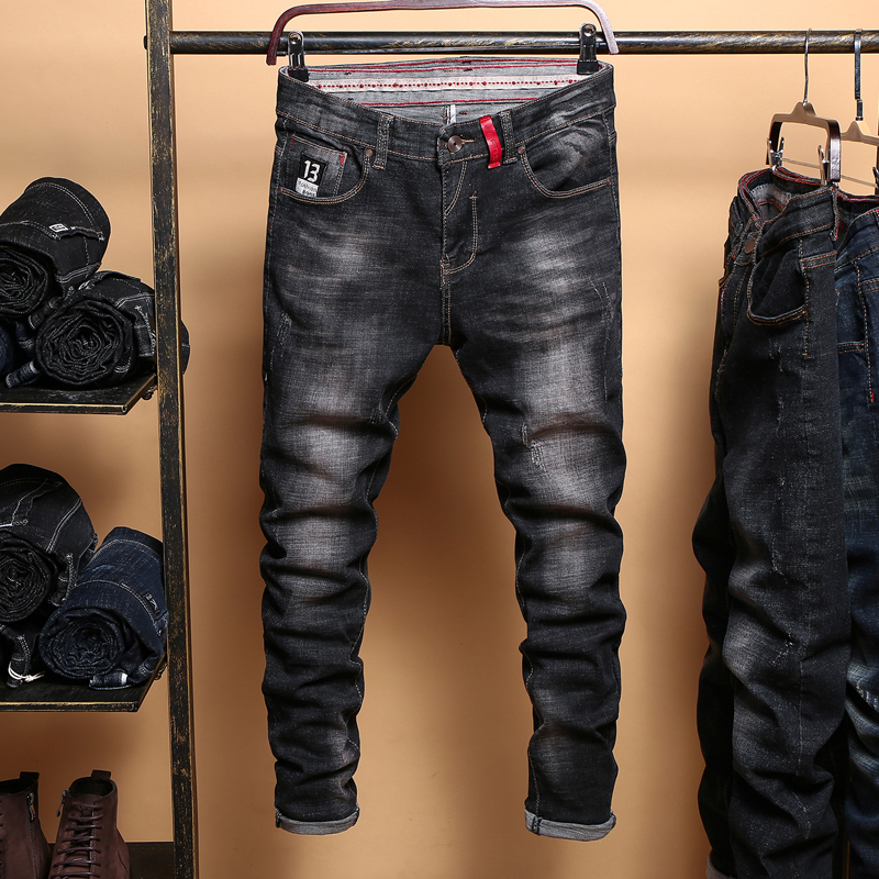 Men's Black   Jeans   Slim Denim   Jeans   Good Quality Men Skinny Solid   Jeans   Pencil Pants New Male Black Skinny   Jeans