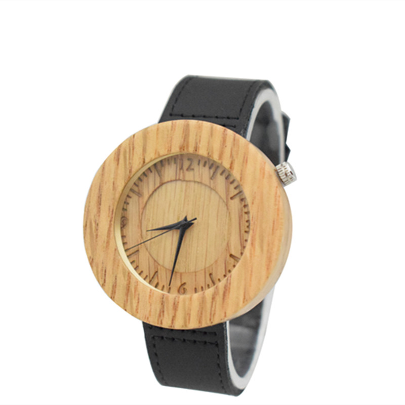 Whole Wristwatch For Mens Wooden Handmade Arts Gifts With Cow Hide Leather Fashion Gifts For Husbands Gift