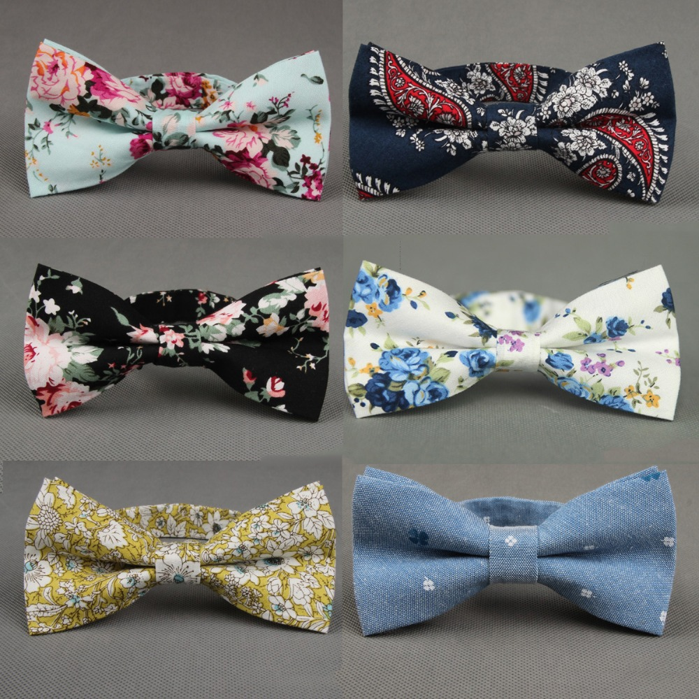 RBOCOTT Floral Bow Tie Man Printed Bowtie Blue Black Paisley Cotton Bow Ties For Man Wedding Party