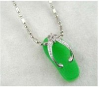 3 PC green jads silvershoespendant & Necklace woman's very good free shipping