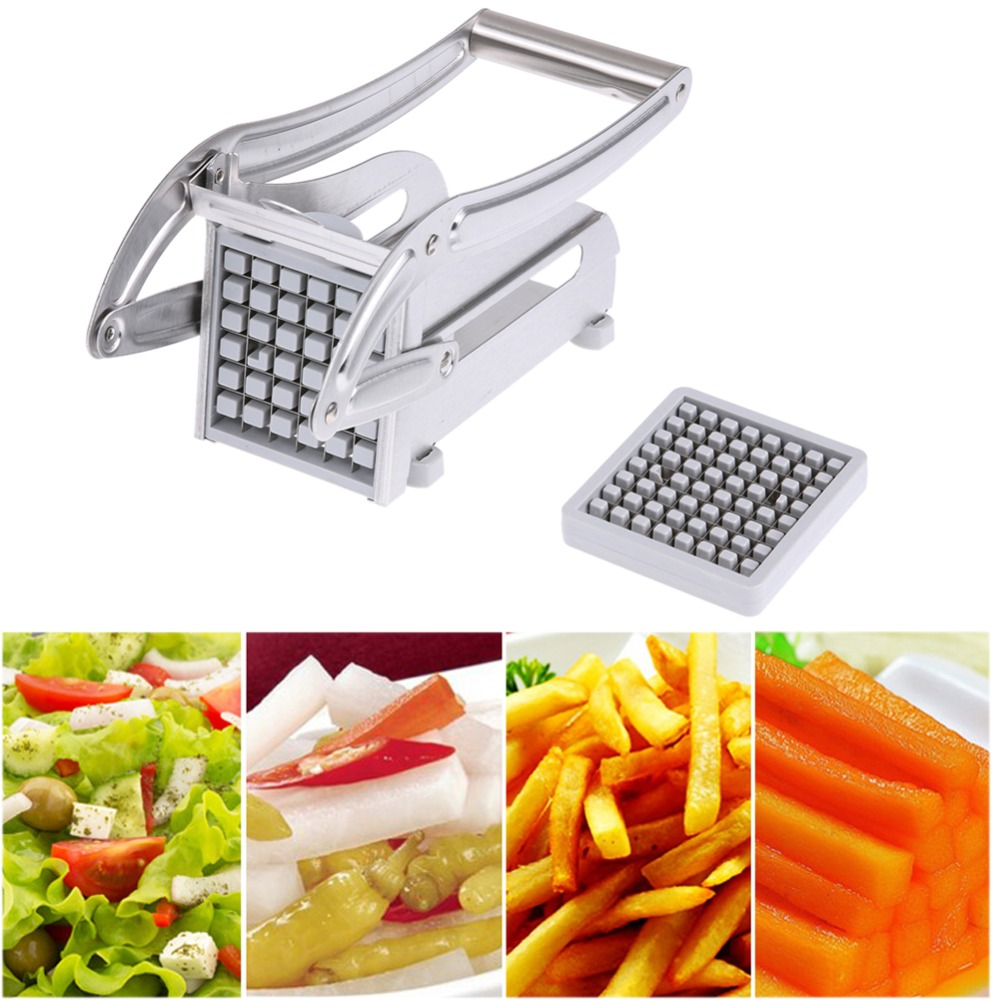 Rustfritt Stål Hjem Fransk Fries Maker Potet Chips Strip Slicer Cutting Making Machine Maker Slicer Chopper Dicer + 2 Blades