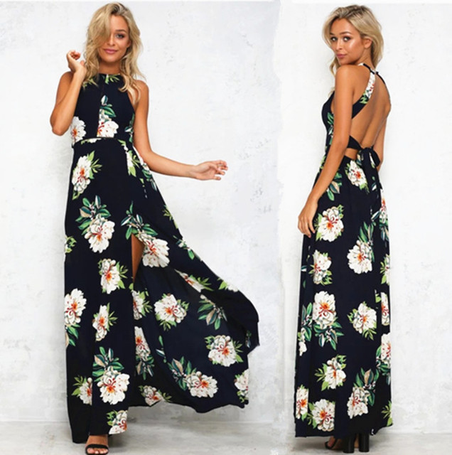 2527d11d756 2017 summer hot sales products women sexy off back fashion floral printed  floor length casual beach chiffon dress