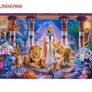 5D алмазная картина DIY квадратной/круглой формы, египетская красота и лев, вышивка крестиком, алмазная вышивка, стразы J1500