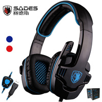 Sades SA 901 Gaming Headset 7 1 Surround Sound Headphones With Microphone Remote Control USB Stereo
