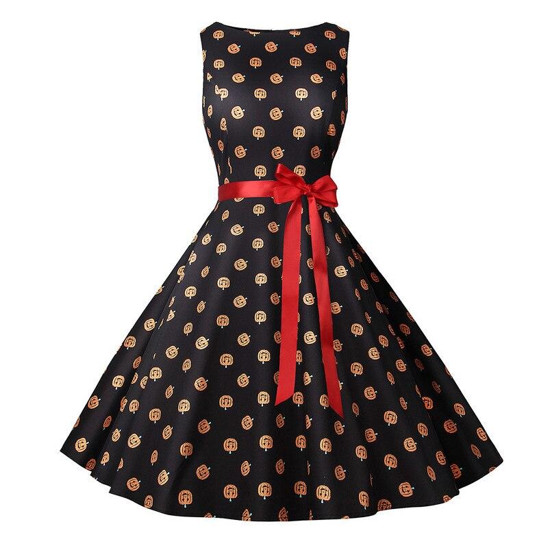 Vintage Halloween Dress Pumpkin Head Print Sleeveless Tie Belt Slim Flare Women For Party UK