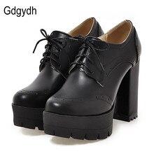 Gdgydh/Модные нейтральные женские туфли-лодочки; женские тонкие туфли с круглым носком; женские туфли на толстой высокой платформе с резным узором
