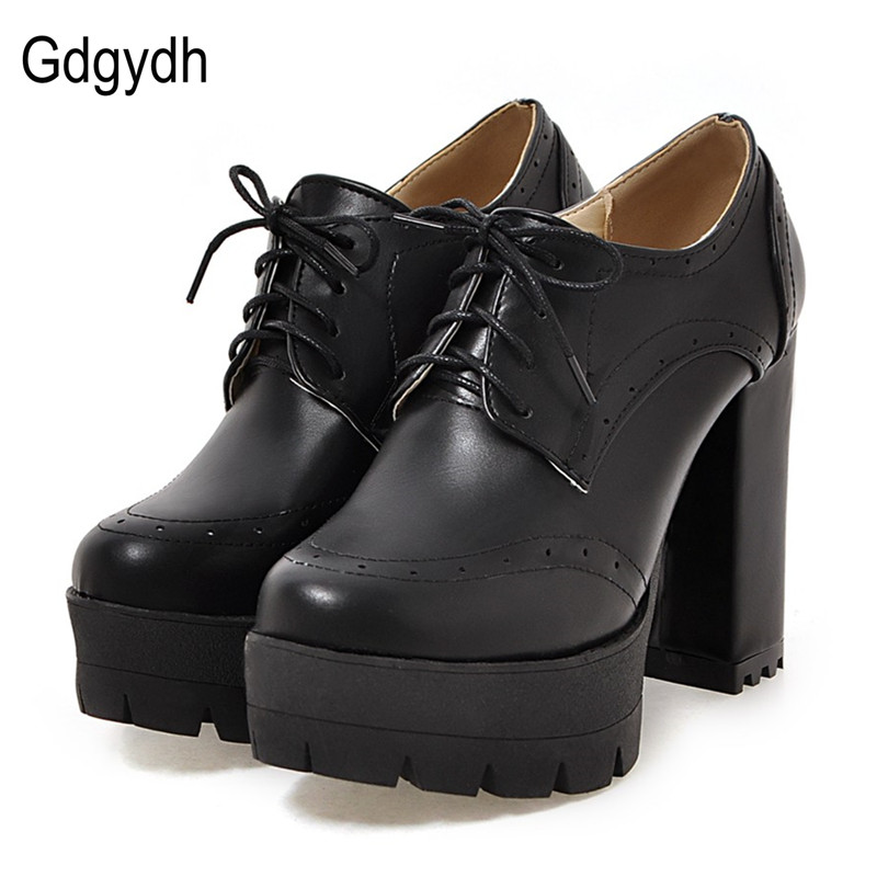Gdgydh Fashion Neutral Women Pumps Shoes Round Toe Two-piece Female Single Shoes Thick Heels High Platform Ladies Shoes Fretwork