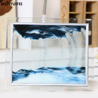 Home decorations glass quicksand creative flow landscape painting birthday gifts office living room 3D hourglass Decoration
