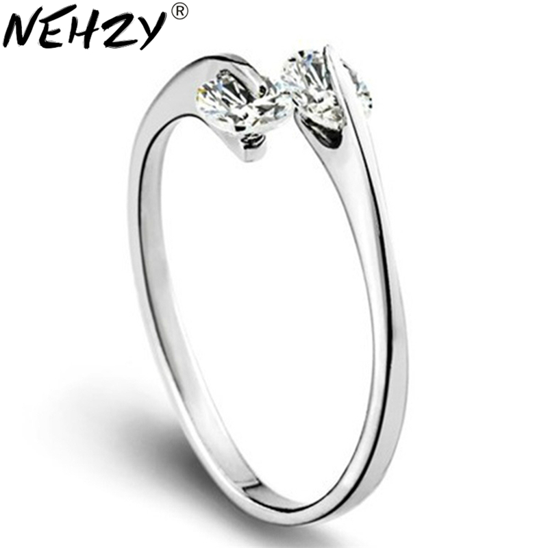 Silver Ring Opening Wild Double Crystal Jewelry Lady Lovely High Quality Fashion Jewelry Manufacturers, Wholesale
